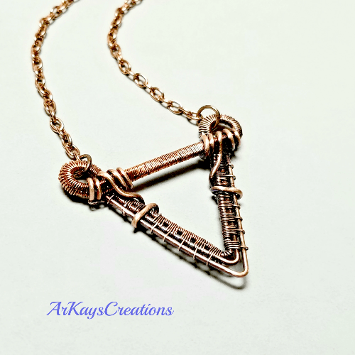 Geometric Triangle Necklace, Wire Weave Jewelry, Wire Wrapped Copper Pendant