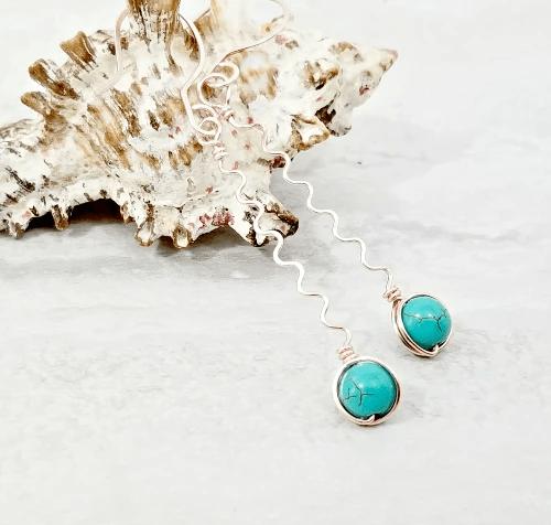 Long Wavy Earrings, Turquoise Jewelry Gift Idea