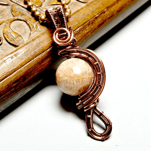 Sunstone Pendant Necklace, Wire Weave Jewelry