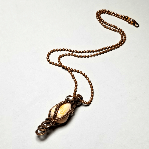 Dragon Vein Agate Necklace, Wire Wrapped Stone Jewelry
