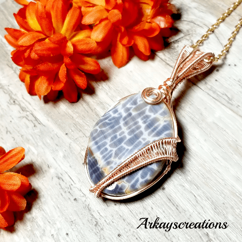 Dragon Scale Agate Pendant, Wire Wrapped Natural Stone Necklace