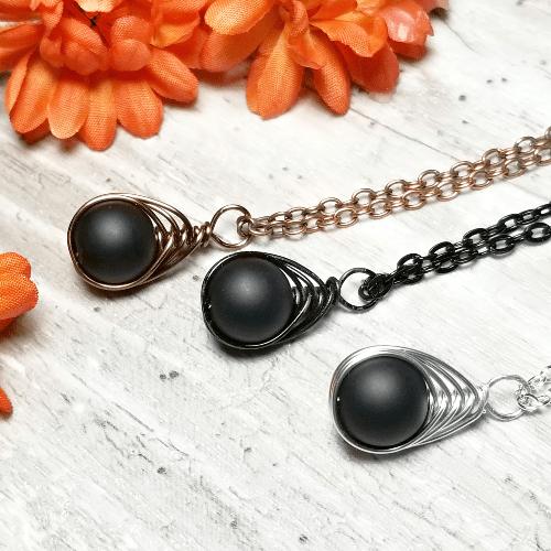 Flat Black Onyx Herringbone Necklace