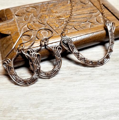 Sunburst Necklace Earring Set,  Wire Weave Jewelry