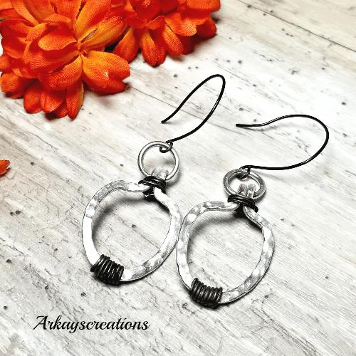 Hammered Aluminum Earrings, Aluminum Wire Jewelry
