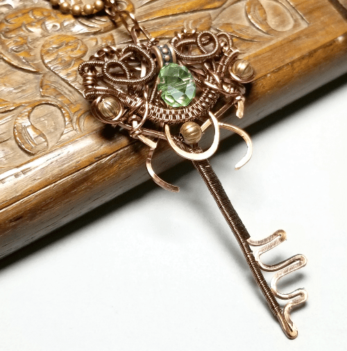 Key Necklace, Wire Wrapped Copper Anniversary Gift