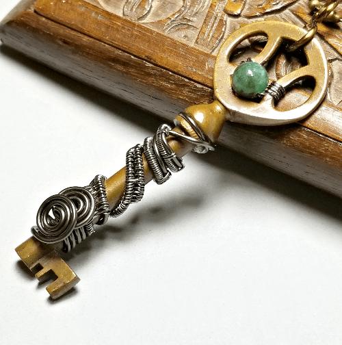 Wrapped Key Necklace, Skeleton Key Pendant