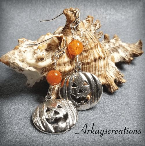 Pumpkin Dangle Earrings, Halloween Jewelry