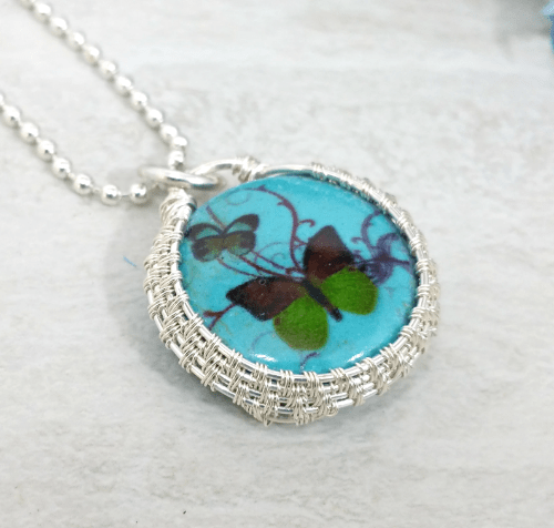 Wire Wrapped Butterfly Necklace, Boho Necklace, Howlite Jewelry