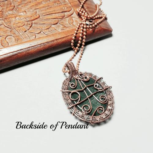 Wire Woven Copper Jewelry, Green Stone Pendant