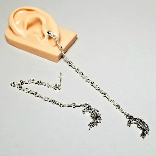 Silver Crescent Moon Earrings, Extra Long Earrings Shoulder Length