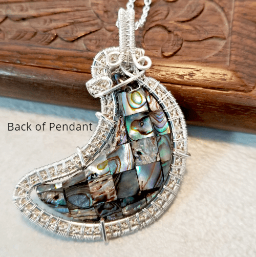 Abalone Pendant Necklace, Moon Necklace, Wire Wrapped Jewelry