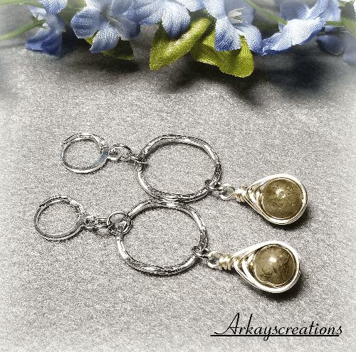 Silver Ring Earrings, Wire Wrapped Herringbone, Labradorite Earrings