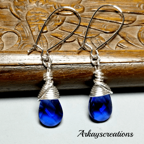 Earrings Sapphire Blue Glass, Wire Wrapped Cobalt Blue Jewelry