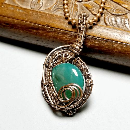 Wire Wrapped Stone Necklace, Green Gemstone Jewelry