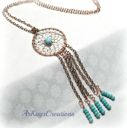 Boho Dreamcatcher Pendant Necklace, Wire Wrapped