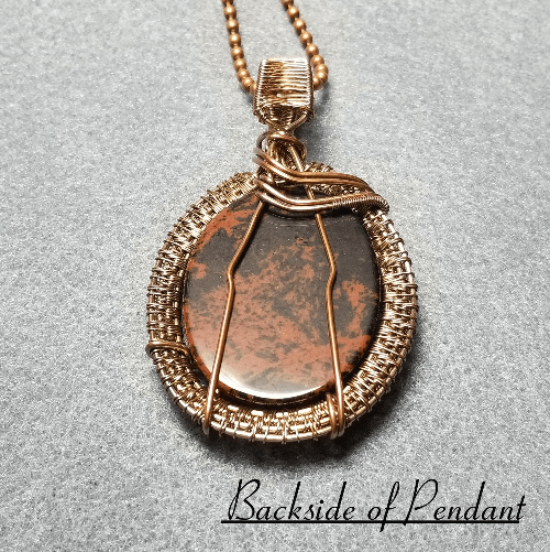 Mahogany Obsidian Pendant Necklace, Wire Weave Jewelry