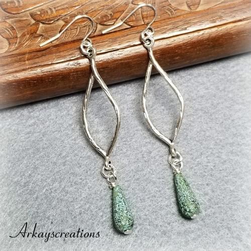 Silver Teardrop Dangle Earrings, Bohemian Jewelry