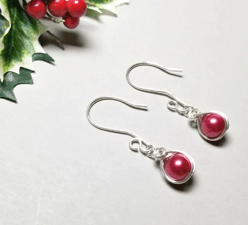 Red Pearl Earrings, Sterling Silver Earrings Dangle, Gift for Her