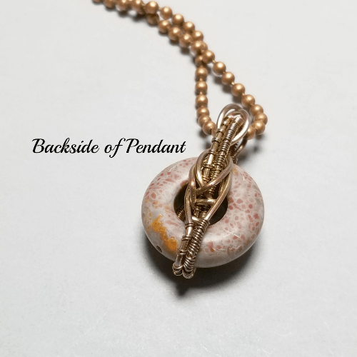 Wire Wrapped Stone Pendant, Pink Jasper Donut Necklace
