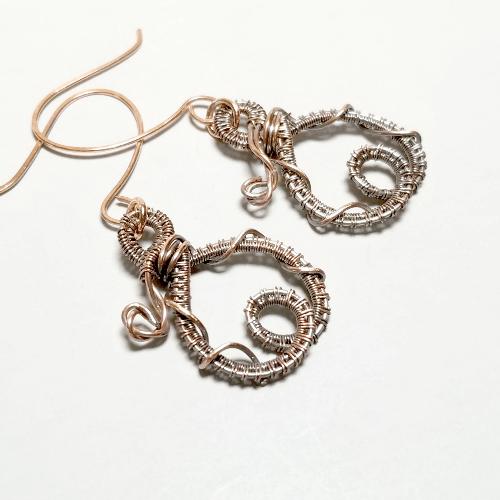 Wrapped Wire Dangle Earrings,  Wire Jewelry