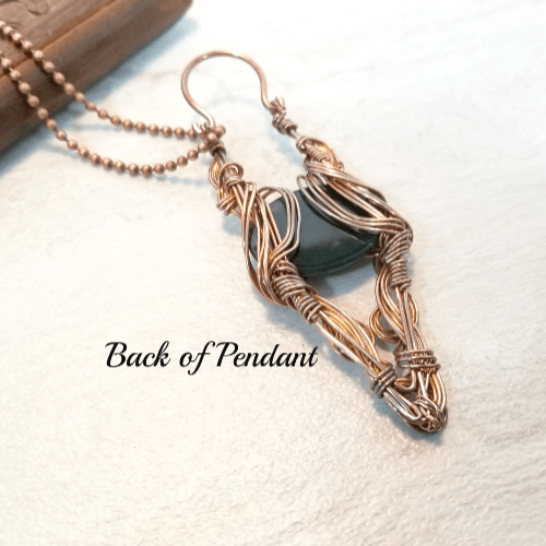 Wire Wrapped Long Pendant, Agate Statement Necklace