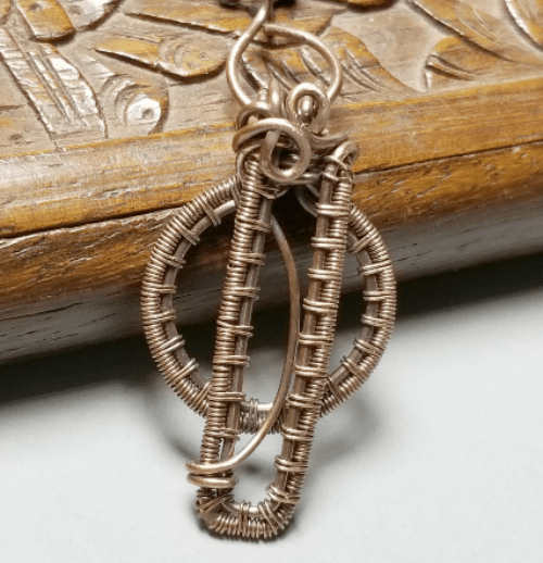 Copper Wire Wrapped Pendant, Modern Geometric Jewelry