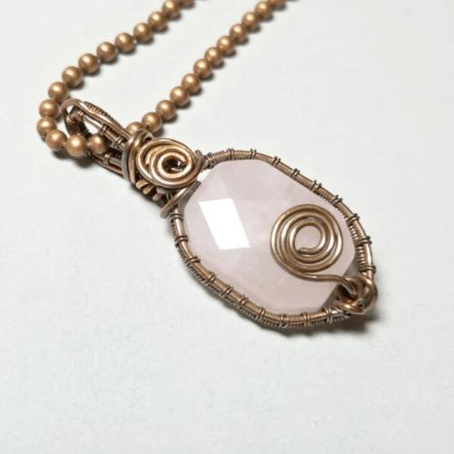 Rose Quartz Pendant Necklace, Wire Wrap Jewelry