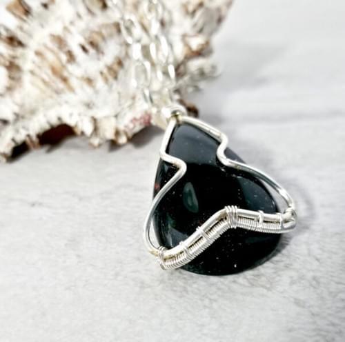 Black Onyx Necklace, Wire Wrapped Gemstone Jewelry