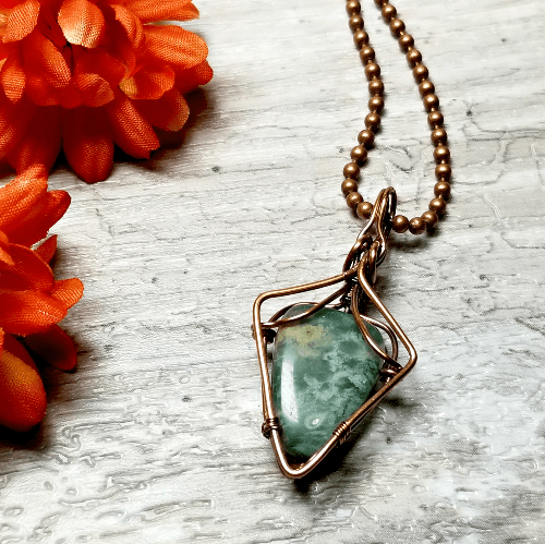 Chrysocolla Stone Necklace, Wire Wrapped Pendant, Green Gemstone Jewelry