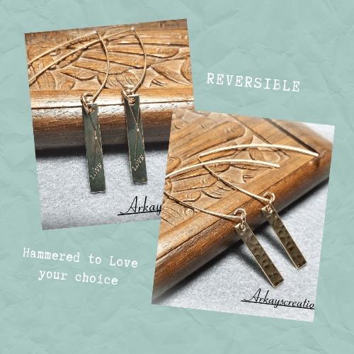 Minimalist Gold Bar Earrings, Reversible Hammered Bar Earrings