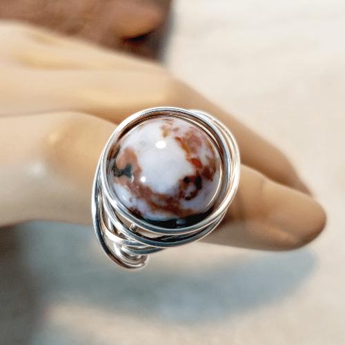 Gemstone Ring, Silver Wire Ring, Stacking Ring