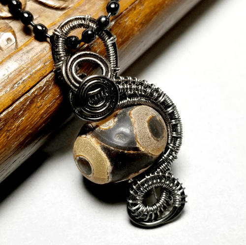 Wire Wrapped Dzi Necklace, Boho Tribal Jewelry