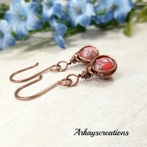 Unique Copper Red Mosaic Earrings, Herringbone Jewelry, Gift