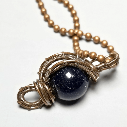Wire Wrapped Blue Goldstone Pendant, Stone Necklace
