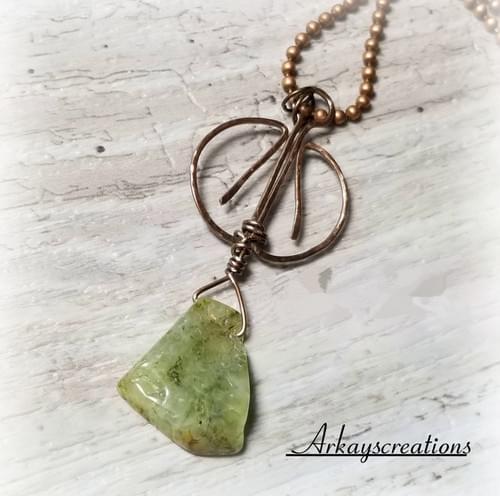 Prehnite Stone Necklace, Wire Wrapped Jewelry