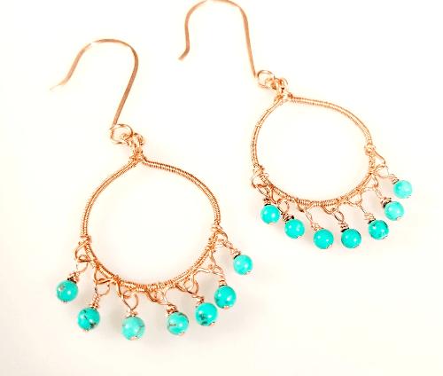 Wire Wrapped Small Hoop Earrings, Boho Earrings, Copper Jewelry, Gift Idea