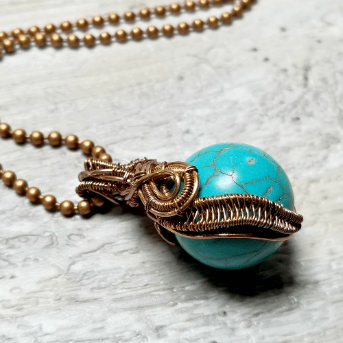 Blue Howlite Wire Wrapped Necklace, Copper Jewelry