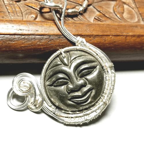 Moon Face Pendant, Moon Necklace, Celestial Jewelry