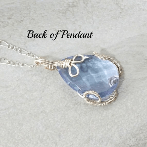 Light Blue Necklace, Wire Wrapped Pendant, Jewelry Gift