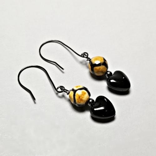 Heart Dangle Earrings, Gemstone Jewelry