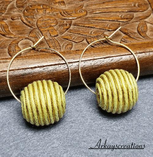 Boho Fiber Hoop Earrings, Everyday Jewelry, Gift Idea