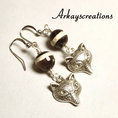 Banded Agate Silver Fox Earrings, Gift Idea