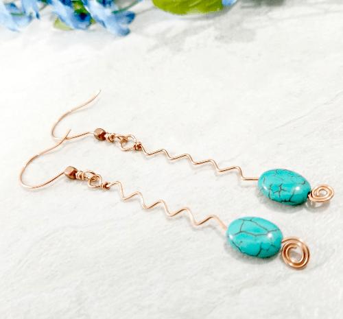 Zig Zag Jewelry, Abstract Copper Earrings, Modern Hippie Jewelry, Girlfriend Gift