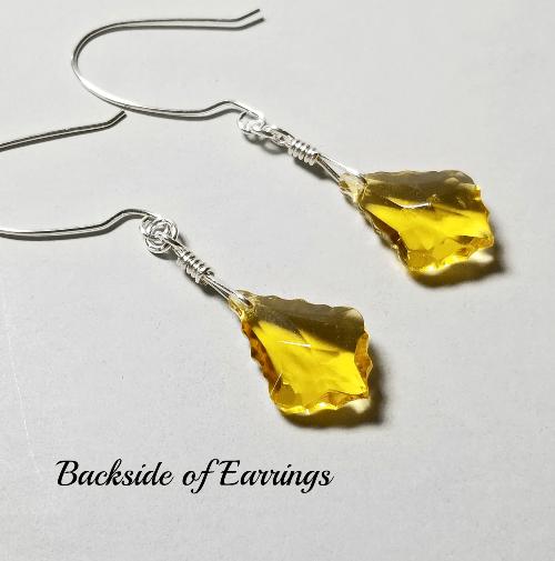 Glass Dangling Earrings, Victorian Style Yellow Jewelry
