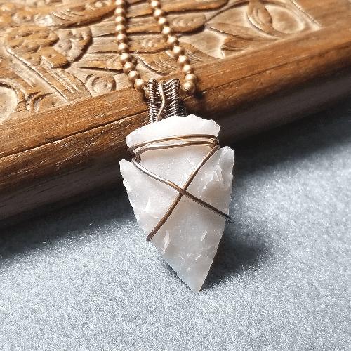 Stone Arrowhead Necklace, Wire Wrapped Jewelry