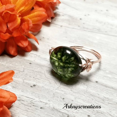 Rose Gold Wrapped Ring, Green Stone Ring