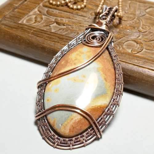 Wire Weave Stone Pendant,  Layering Necklace
