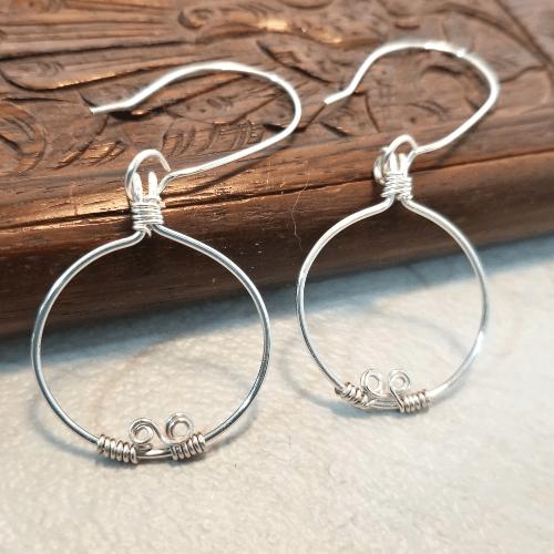 Circle Earrings, Simple Hoop Earrings, Artisan Jewelry