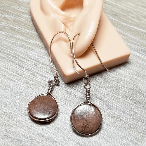 Wood Disc Earrings, Lightweight Earrings, Copper Jewelry