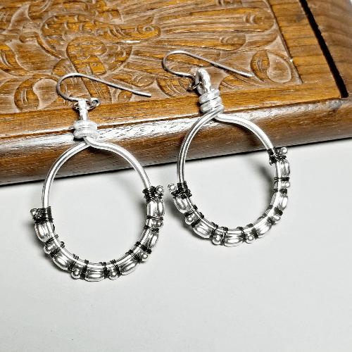 Dangle Earrings for Sensitive Ears, Aluminum Jewelry, Silver Hoop Earrings